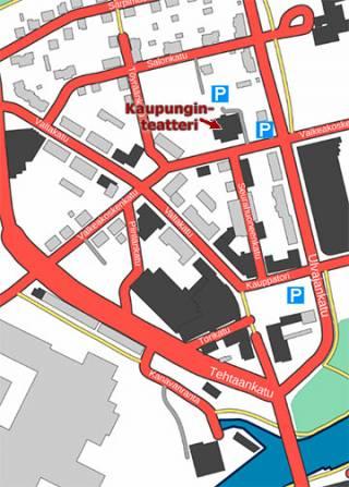Teatterin läheisyydessä sijaitsevat pysäköintipaikat kartalla.